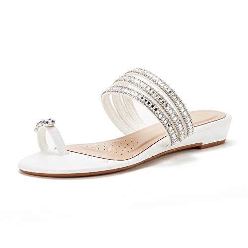 DREAM PAIRS Women's Jewel_05 White Fashion Rhinestones Design Slides Sandals Size 8 M US