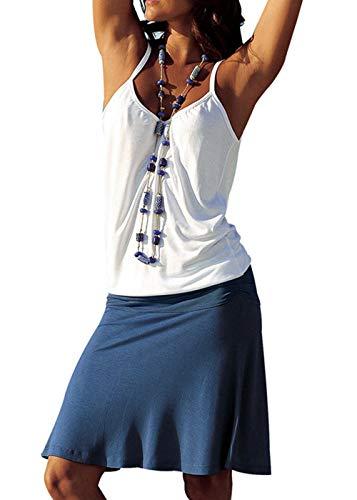 (Jusfitsu Women's Summer Casual Dress Strappy Cotton Midi Beach Dresses Print Flare Beachwear Stretchy WhiteNavy 2XL)
