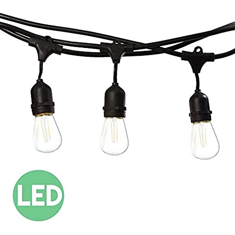 48 Ft LED Outdoor String Lights with 15 Lights (3 Extra S14 Bulbs) and 13 Foot Matching Extension Cord - Commercial Weatherproof Patio String (C7 Twinkling Bulbs)