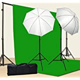 Chromakey Green Screen Kit 800w Photo Video Lighting Kit 10x12 feet Green Screen and Backdrop Support System Included…