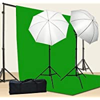 Chromakey Green Screen Kit 800w Photo Video Lighting Kit 10x12 feet Green Screen and Backdrop Support System Included Ul15 10x12 Green By Fancier U15 10x12 Green