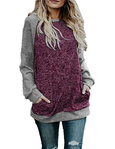 Sanifer Women's Crewneck Oversized Sweatshirts Color Block K
