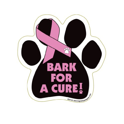 Bark For A Cure - Breast Cancer Paw Support Ribbon Car Truck & Mailbox Magnet (Magnetic Cancer Ribbons)