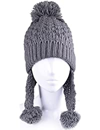 Women Winter Hat With Ear Flaps Cable Knit Ski Cap Pompom Earflap Beanie Hats