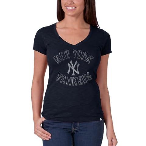 MLB New York Yankees Women's '47 V-Neck Scrum Tee, Fall Navy, Small - New York Yankees Fabric
