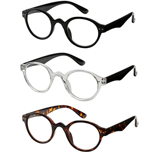 Reading Glasses 3 Pair Spring Hinge Professer Readers for Men and Women Fashion Glasses for Reading +2.25