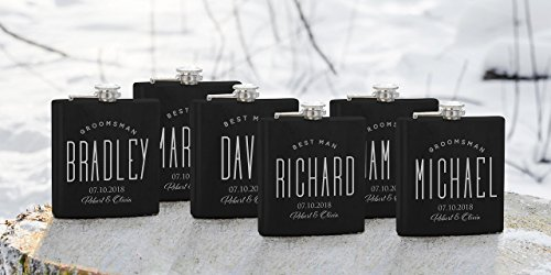 Lily's Atelier Set of 6 - Personalized Groomsmen Flask Gift - Gifts for Wedding, Customized Best man Flasks Matte Black, Engraved 6oz Stainless Steel Flask Custom Personalized Flask Gift Set _LAFS6_D6 by Lily's Atelier