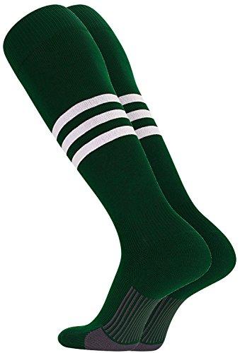 TCK Performance Baseball/Softball Socks (Dark Green/White, Large)