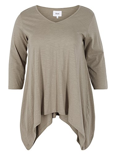 Zizzi Camiseta larga 100 % algodón tallas grandes Mujer gris beis