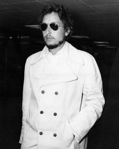 Pvc Ports (Bob Dylan in white PVC jacket & shades London Heathrow Airport 1969 11x14 Promotional Photo)
