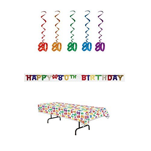 80th Birthday Party Decoration Kit: Bundle Includes Banner, Table Cover, and Whirls -
