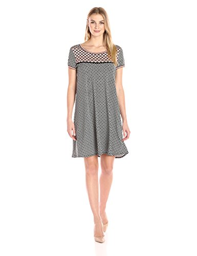Lark & Ro Women's Short Sleeve Scoopneck T-Shirt Dress, Black/Blush Dot, Medium Dresses