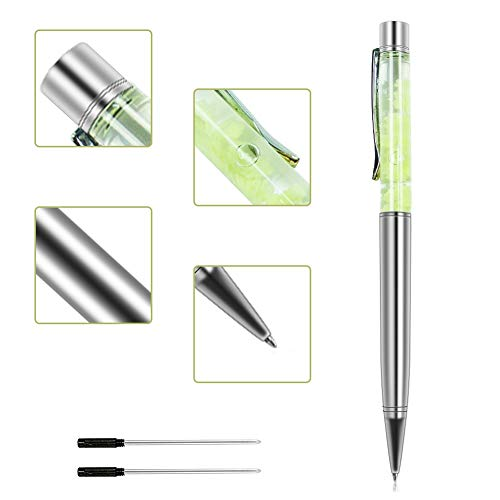 (Ballpoint Pens, Jiulyning Silver Metal Pen Refills with Green Crescent, Bling Dynamic Liquid Pen Black Ink for Office Supplies Gift Pens Wedding Decor Black Ink with 2 Replacement Refills)