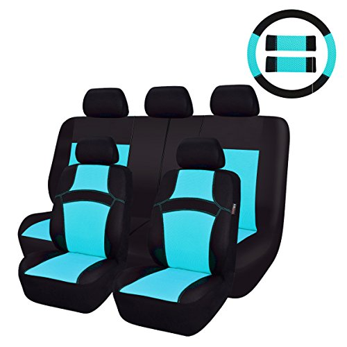 NEW ARRIVAL- CAR PASS RAINBOW Universal Fit Car Seat Cover -100% Breathable With 5mm Composite Sponge Inside,Airbag Compatible (14PCS, Water blue)