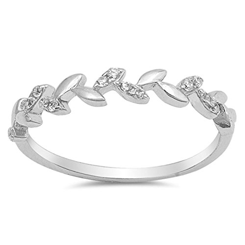 Prime Jewelry Collection Sterling Silver Women's Colorless Cubic Zirconia Leaf Branch Tree Floral Vine Ring (Sizes 4-10) (Ring Size (Floral Vine Jewelry Collection)