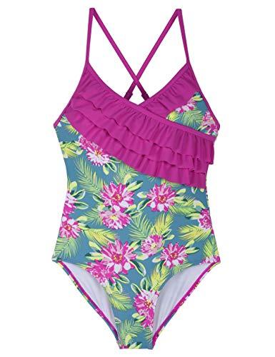 Firpearl Girl's One Piece Swimsuit Ruffle Swimwear Kids Bathing Suit XL/14-16 Green&Rose Floral