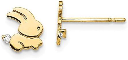 Gift box 9ct gold bunny rabbit crystal CZ stud earrings