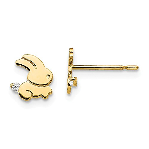 14k Yellow Gold Cubic Zirconia Cz Childrens Bunny Post Stud Earrings Holiday Animal Wild Fine Jewelry Gifts For Women For Her