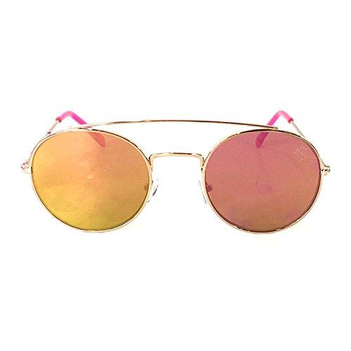 Betsey Johnson Women's Flash Mirrored Flat Round Aviator Sunglasses, -
