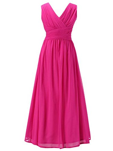 Happy Rose Flower Girl's Dress Party Dresses Juniors Long Bridesmaid Dress Fuschia 10
