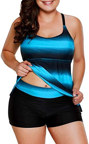 Zabrina Stores Womens Color Block Striped Plus Size Tankini Set Swimwear with Boyshorts M-4XL