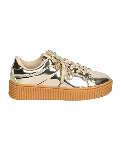Creeper Casual Women Sneaker GC14 Lace Gold by Mirror Comfortable Robin Metallic Platform Urban Up Sneaker Cape w1wYIRxBq