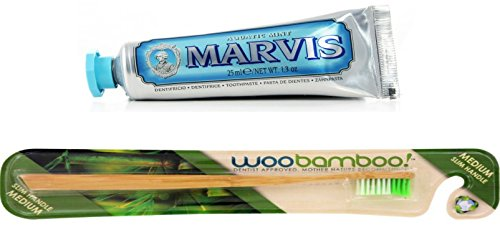 WooBamboo Toothbrush Slim Handle Medium + Aquatic Mint Toothpaste
