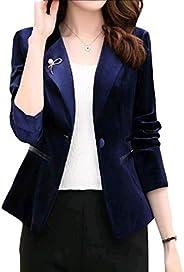 Cobama Women's Classic Button Blazer 1 Premium Velvet Notch Lapel Jacket S
