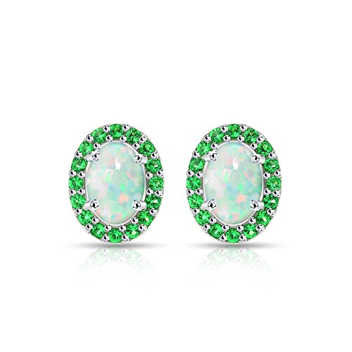 Sterling Silver Simulated White Opal and Emerald Oval Halo Stud Earrings
