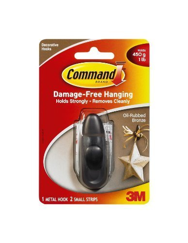 Command Forever Classic Metal Hook, Oil Rubbed Bronze, Small by Command by Command