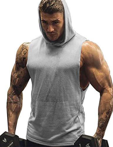 URRU Mens Hooded Tank Tops Workout Sleeveless Muscle Shirt with Kanga Pocket S-XXL