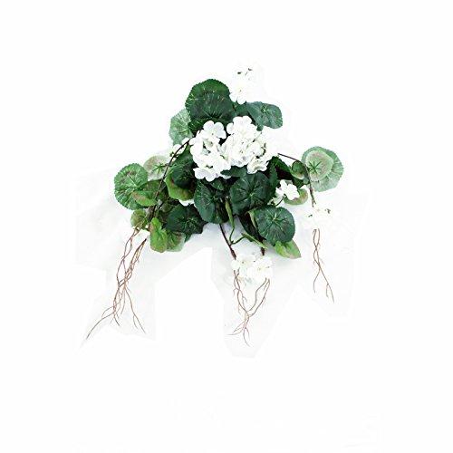 FloristryWarehouse Artificial Silk Trailing Geranium White 16.5 inches Hanging Basket Window Box Flowers