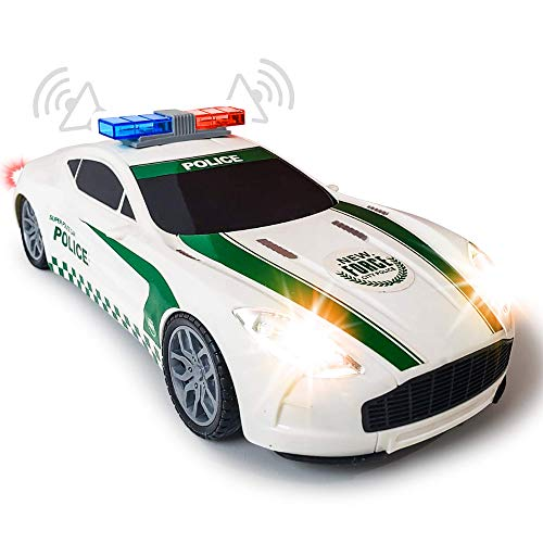 ArtCreativity Light-Up Police Car with LED Headlights, Taillights and Sirens - Battery Operated Toy Police Car for Boys, Girls and Toddlers, Batteries Included, Best Birthday Gift for Children
