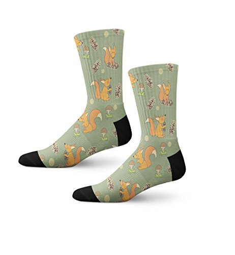- Playful Squirrels On Green Fun Cool Novelty Cuff Crew Men Women Socks Large