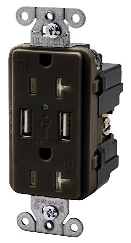 Duplex Hubbell Wiring Device (Hubbell Wiring Systems USB20X2 Straight Blade Devices, Decorator Duplex Receptacle, 3 Amp, 5V USB Ports, Industrial/Commercial Grade, 20 Amp, 125V, 2-Pole, 3-Wire Grounding, 5-20R, Brown)