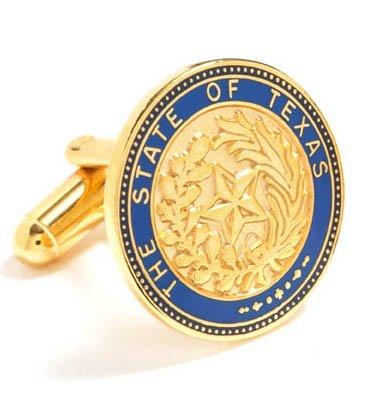 (Cufflinks Inc. Men's Texas State Seal Cufflink, Gold/Blue, One Size)