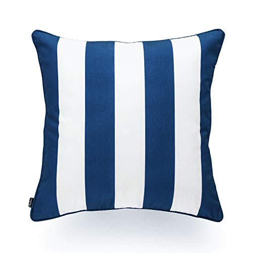 Hofdeco Indoor Outdoor Pillow Cover ONLY, Water Resistant for Patio Lounge Sofa, Navy Blue White Stripes, 18