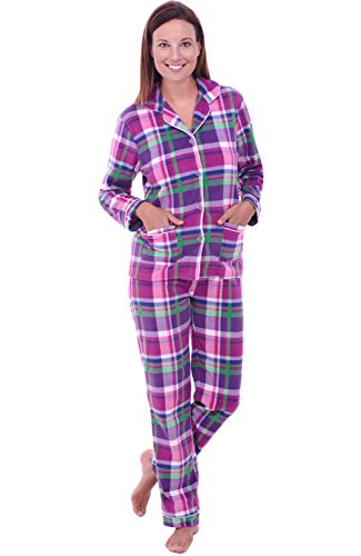 Fleece Button (Alexander Del Rossa Womens Fleece Pajamas, Long Button Down Pj Set, Medium Purple and Green Plaid (A0324Q17MD))