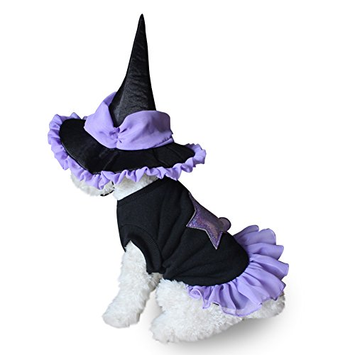 AAA226 Pet Dog Halloween Soft Wizard Suit Costume Clothes Puppy Cat Dress + Hat Apparel - S