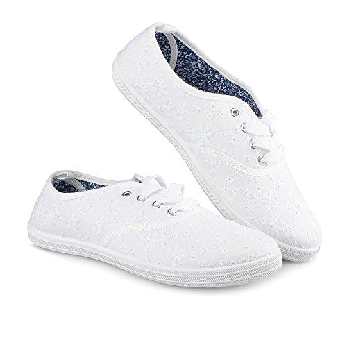 Twisted Damen Tennis Basic Athletic Sneaker Perforiertes weißes Blumen
