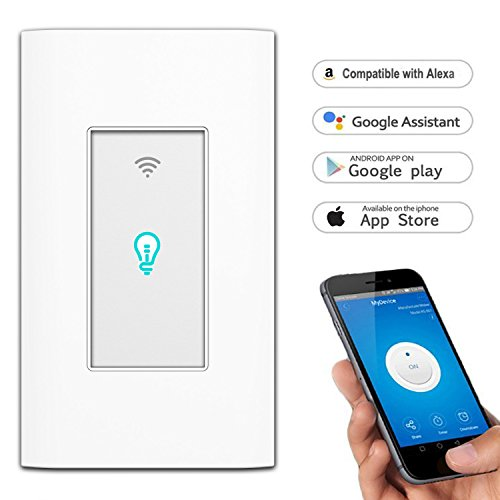 Price comparison product image Smart Switch, WiFI In-Wall Wireless Touch Light Switch Compatible with Amazon Alexa and Google Home, Remote Control Lights and Appliances Timing Function, Overload Protection, No Hub Required