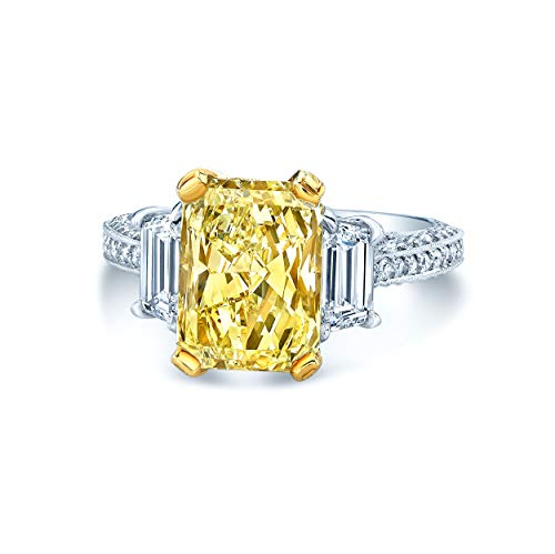 Platinum & 18K Yellow Gold Radiant Cut Fancy Yellow Diamond (5 ct. t.w) Engagement Ring, Size 6 - Fancy Yellow Radiant Cut Diamond