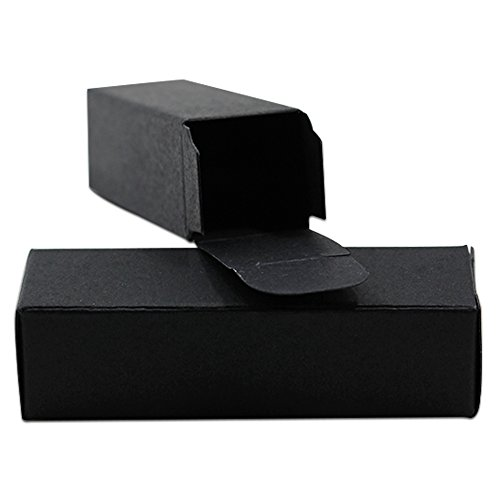 50Pcs Lipstick Boxes Kraft Paper DIY Small Gifts Perfume Wrapping Box Reusable Small Cosmetic Essential Oil Packing Box (3.2x3.2x7.7cm (1.3x1.3x3 inch) 15ml, Black)