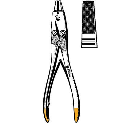 Sklar Instrument 40-1745 TC Double Action Wire Extraction Pliers, Wide Tungsten Carbide Jaws, 7'' Length
