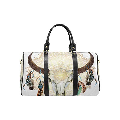 InterestPrint Carry on bag Travel Duffel Tote Unisex Weekender Bag Buffalo Skull with Feathers Bohemian Style
