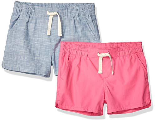 Amazon Essentials Girls' 2-Pack Pull-On Woven Shorts, Pink/Chambray, - Shorts On Drawstring Pull