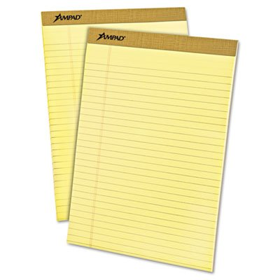 Writing Pad, Legal Rule, Letter, Canary, Micro Perf, 50-Sheet Pads, Dozen, Total 6 DZ, Sold as 1 Carton by Ampad