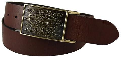 Levi's Men's 1 1/2 in.Plaque Bridle Belt With Snap Closure,Brown,40 - Mens Bridle