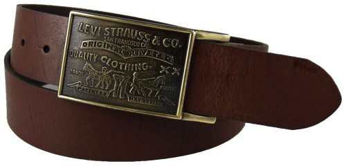 Levi's Men's 1 1/2 in.Plaque Bridle Belt With Snap Closure,Brown,34 (Mens Bridle)