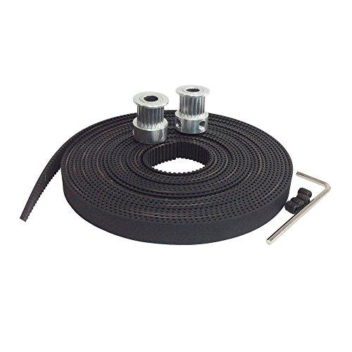 T&B Gt2 2 Meters Timing Belt and 2 X Aluminum 16t 5mm Pulleys Set for Reprap 3d Printer Prusa i3 Kossel Rostock TAZ MendelMax etc